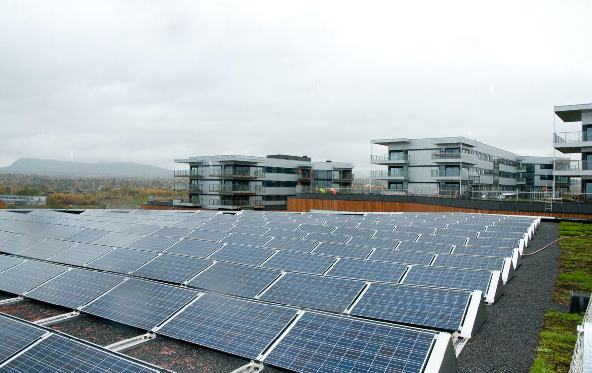 Det er 2000 kvm med solcellepanel på taket på Fornebu S kjøpesenter. (Foto: Trond Joelson)