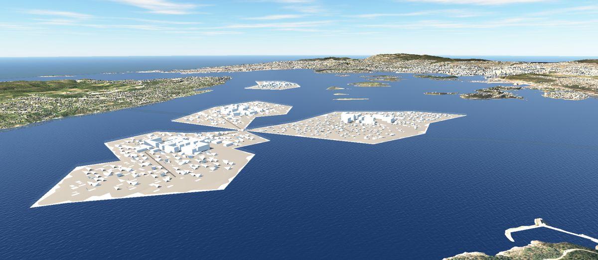 <p>Sweco ønsker å flytte byutviklingen mer ut i fjorden i fremtidens Oslo. Illustrasjon: Sweco</p><p></p>