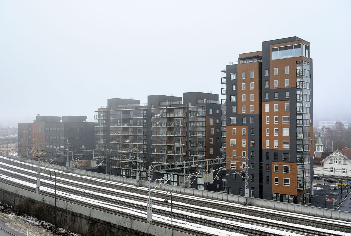 Elias Smiths Plass i Sandvika, 23.2.2021 Foto: Trond Joelson, Byggeindustrien