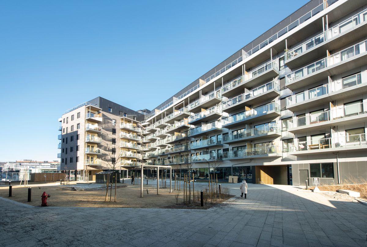 Den største boligblokka i Felt S1, Ensjø Torg i Oslo, 13.2.2021. Foto: Trond Joelson, Byggeindustrien
