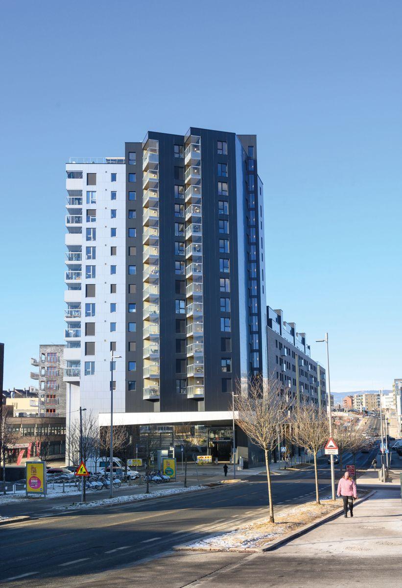 Høyhuset i Felt S1 på Ensjø Torg i Oslo, 13.2.2021. Foto: Trond Joelson, Byggeindustrien