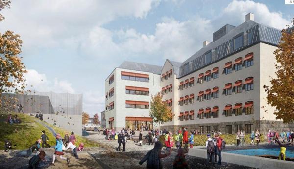 Nå kan Halden kommune skrive totalentreprisekontrakt med AF Gruppen for byggingen av Os skole og idrettsarena i sentrum av Halden. Illustrasjon: Asplan Viak.