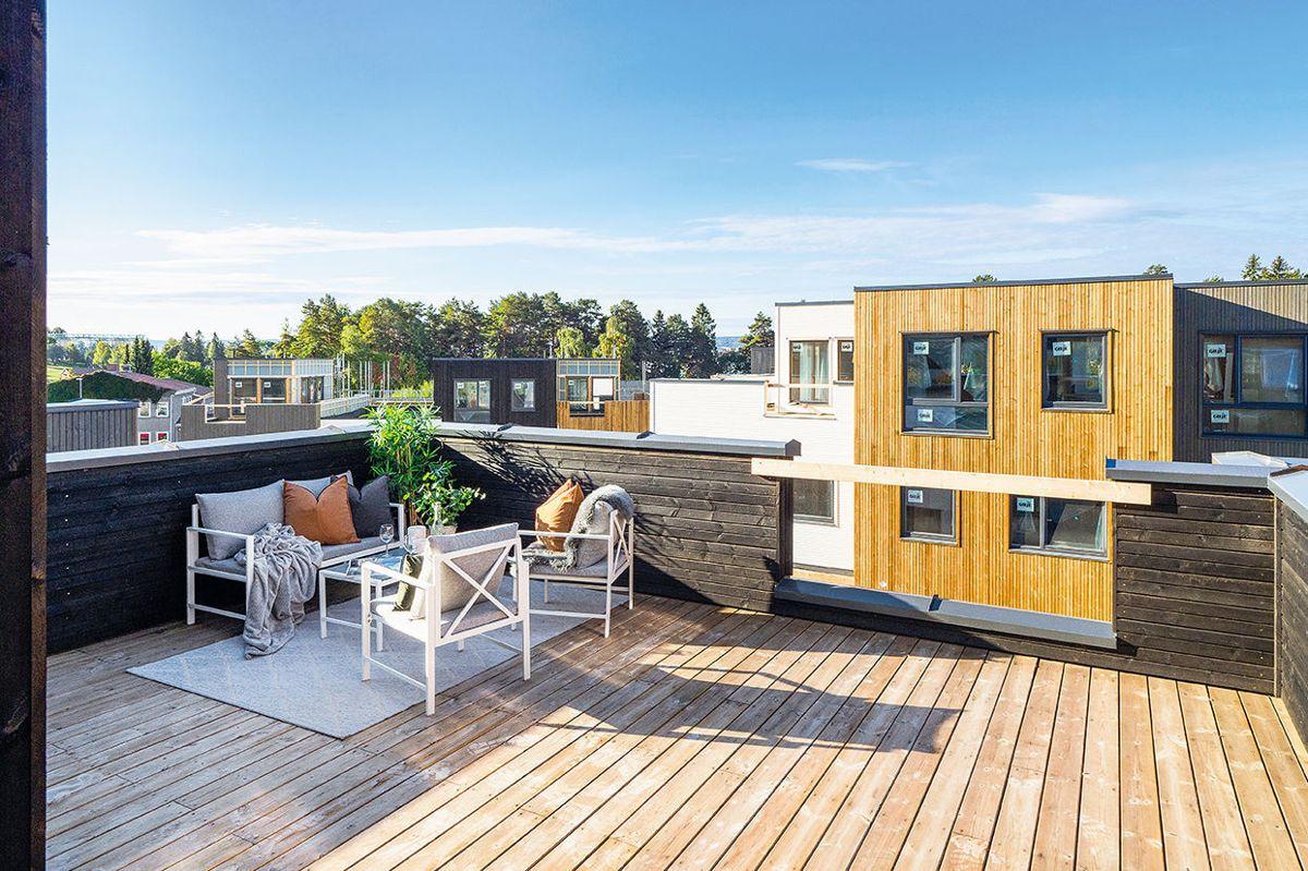 Flere av boligene har også en egen tårnstue med takterrasse. Foto: Ø.M. Fjeld