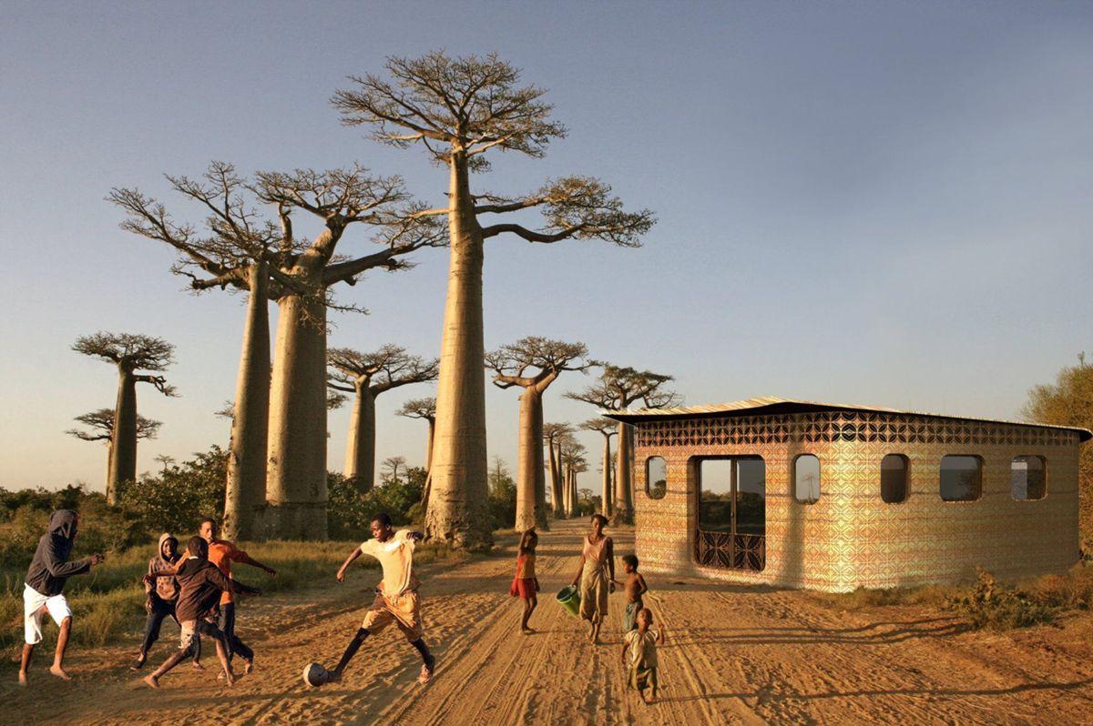 Organisasjonsn Thinking Huts bygger verdens første 3D-printede skole på Madagaskar. Illustrasjon: Studio Mortazavi