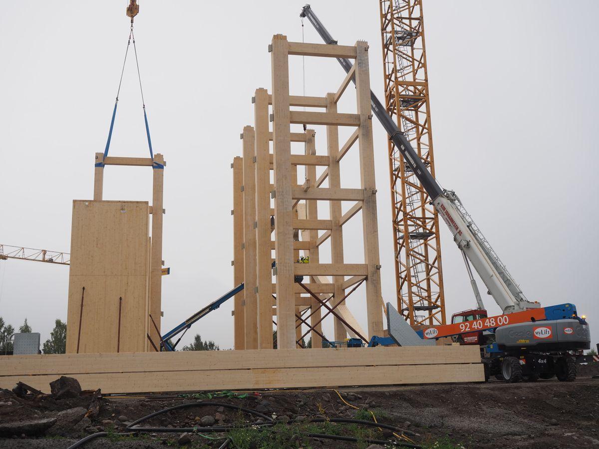 <p>Montasjen av limtrekonstruksjoner for Mjøstårnet startet denne uken. Foto: Jørn Hindklev</p>