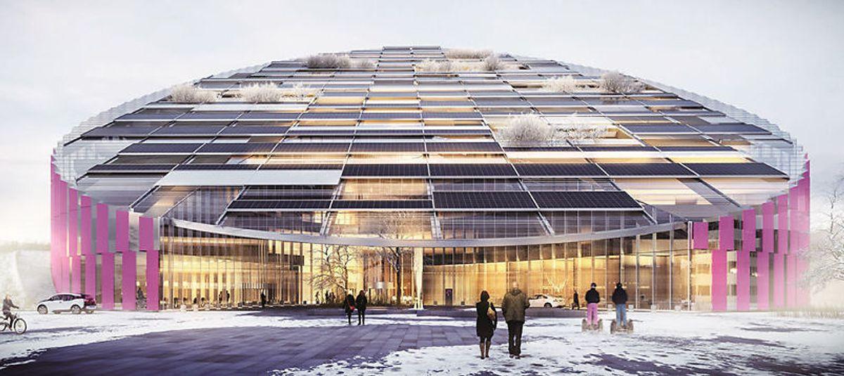 <p>Statoils nye hovedkontor planlegges å bli 80 meter høyt, romme rundt 3.000 mennesker over 16 etasjer, og få en prislapp på anslagsvis mellom 2,5 og 3 milliarder kroner. Illustrasjon: Wingårdhs / Statoi</p>