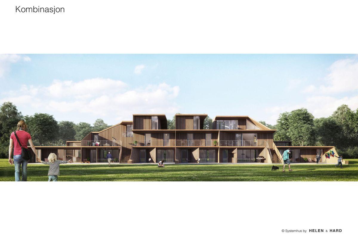 Slik kan Systemhus i samarbeid med Helen & Hard Arkitekter tenke seg tett småhusbebyggelse. Illustrasjon: Helen & Hard Arkitekter