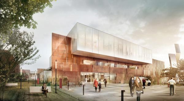 Dansk Center for Partikelterapi ved Aarhus Universitetshospital er et eksempel på LINKs skandinaviske arbeid med sykehusbygg. Nå satser de for alvor i et mer internasjonalt marked. Illustrasjon: LINK Arkitektur