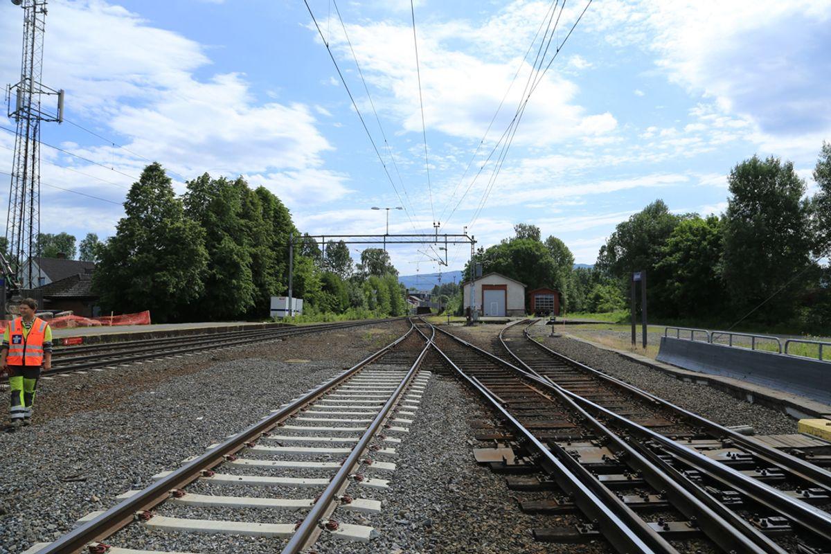 Fra Hokksund hvor det kommer ny dobbel sporveksel. Foto: Jernbaneverket
