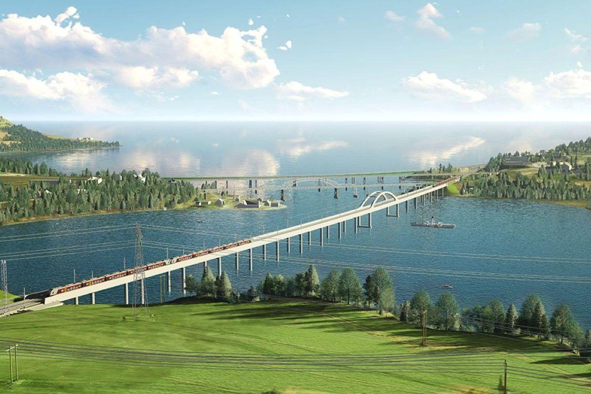 Slik blir Norges lengste jernbanebru når den står ferdig. Illustrasjon: Bane NOR