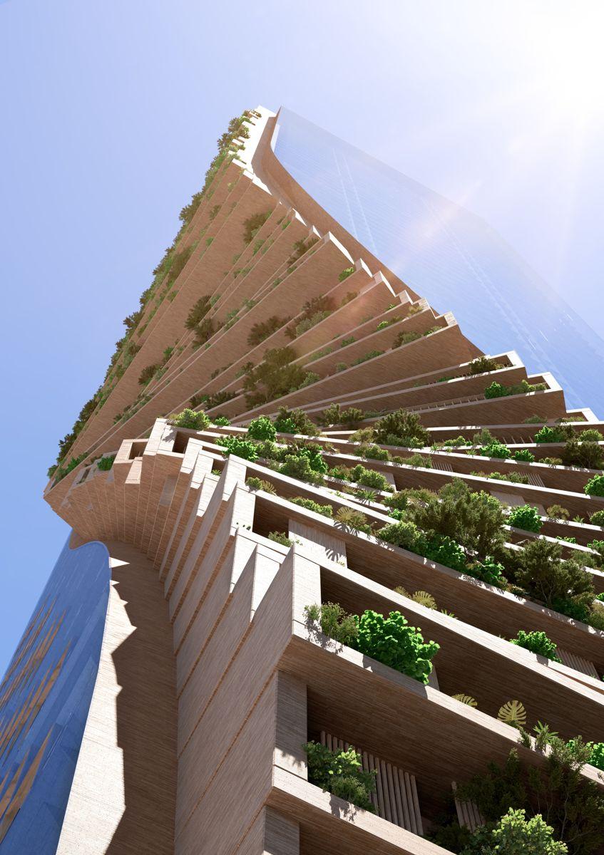 Southbank by Beulah blir, ifølge utviklerne, verdens høyeste vertikale hage. Illustrasjon: Beulah