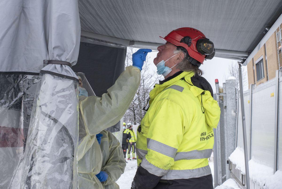 Wolf-Dieter Wandlowsky i Oslo VVS-Service var en av 60 arbeidere som ble testet for koronavirus på Backe Stor-Oslos byggeplass på Furuset fredag.