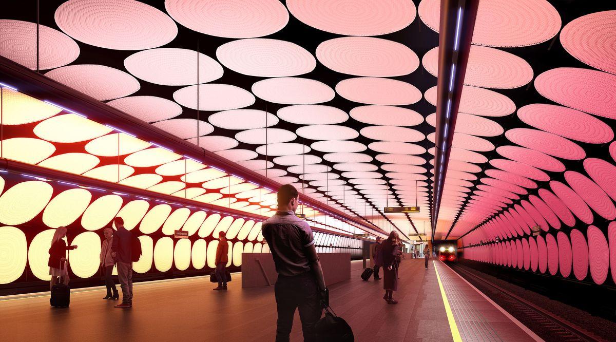 Tunnelentreprisen inkluderer byggegroper med spunt og bergsjakter for Flytårnet stasjon og Fornebuporten stasjon. Illustrasjon: Zaha Hadid Architects / A-Lab