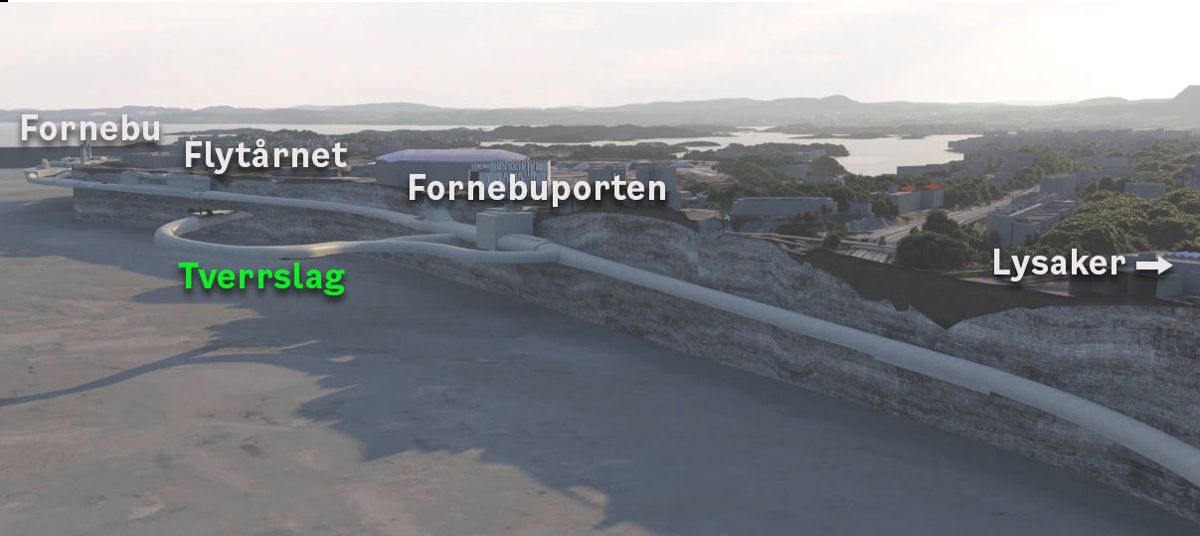 Implenia Norge er innstilt til tunnelentreprisen Lysaker - Fornebu. Illustrasjon: Fornebubanen