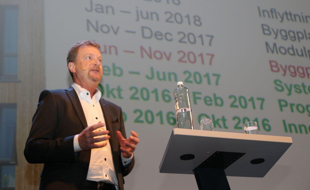 Peter Stenfeldt i OBOS Sverige fortale om High6-prosjektet i Kalmar.