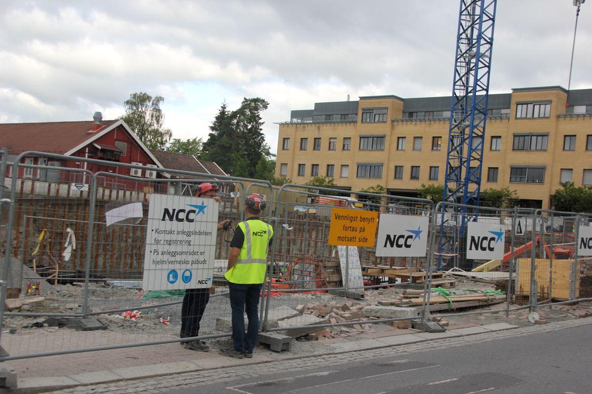 HMS-uke: Beredskapsøvelse på NCCs byggeplass Gamle Ringeriksvei 36 på Bekkestua i Bærum. (Foto: Svanhild Blakstad)