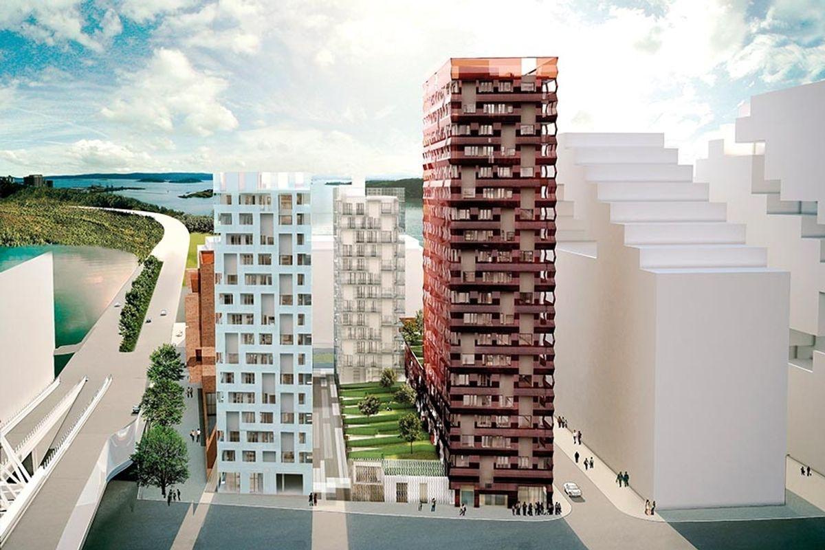 De tre tårnene sett fra nord mot fjorden. Fra venstre Tårn D, i midten bak Tårn B og lengst til høyre Tårn A. Ill.: Lund Hagem Arkitekter
