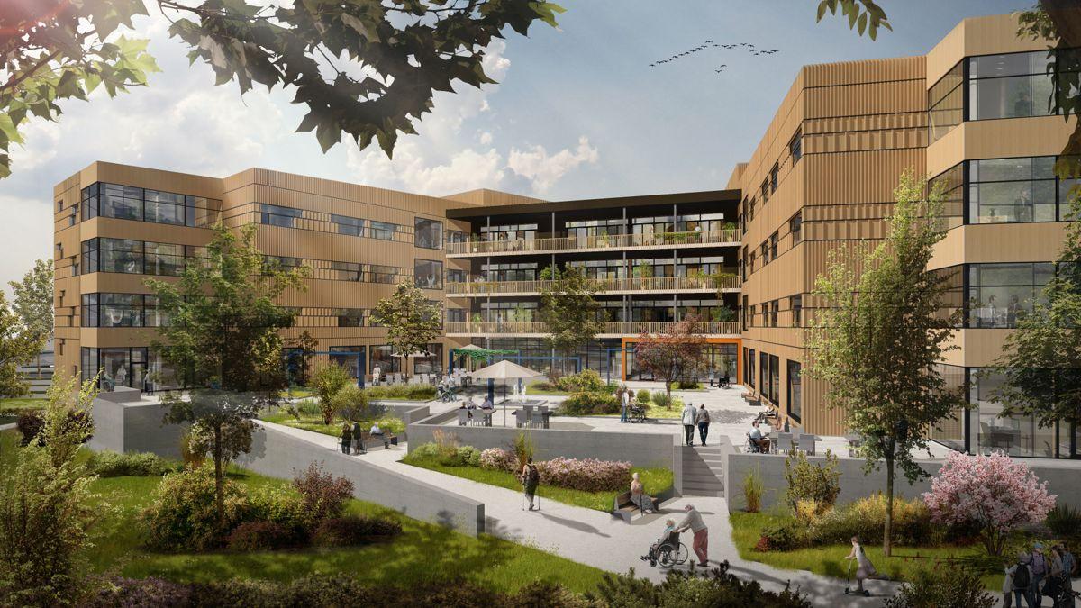 Det nye rehabiliteringssenteret omfatter cirka 10.000 kvadratmeter over fire etasjer. Illustrasjon: Per Knudsen Arkitektkontor AS