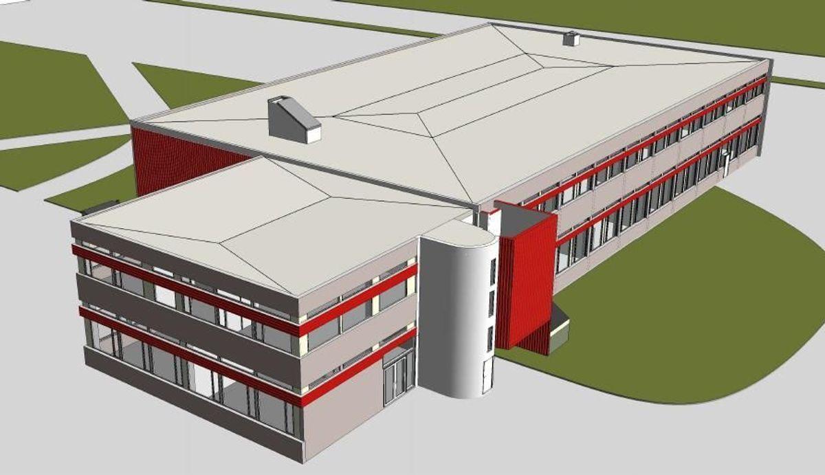 Slik ser eksisterende bygg ut på Ås videregående skole. Illustrasjon: LMR Arkitektur