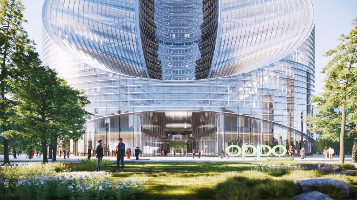 O-Tower i den kinesiske byen Hangzhou er designet med en vridende ring som skaper illusjonen av en evighetsform som et Möbius-bånd. Illustrasjon: BIG