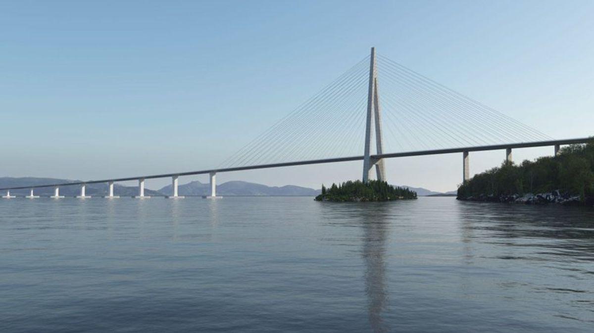 Flytekonstruksjonen til brua, som er en del av Fergefri E39, vil bestå av stål i stedet for betong. Dette reduserer kostnadene og CO2-utslippene. Illustrasjon: Statens vegvesen