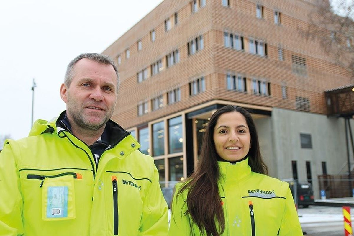 Prosjektleder André Skjelstad og anleggsleder Amal Issa i Betonmast Innlandet har grunn til å være fornøyd med gjennomføringen av prosjektet.