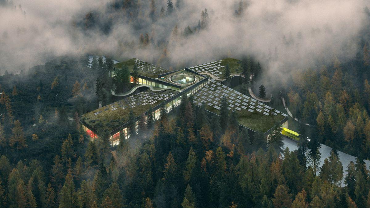 Slik skal Vestres møbelfabrikk gli inn i skogen på Magnor i Eidskog kommune. Miljøambisjonene for byggherre er skyhøye med klassifisering BREEAM Outstanding, og fabrikken skal bygges med form som et plusstegn. Illustrasjon: BIG Bjarke Ingels Group