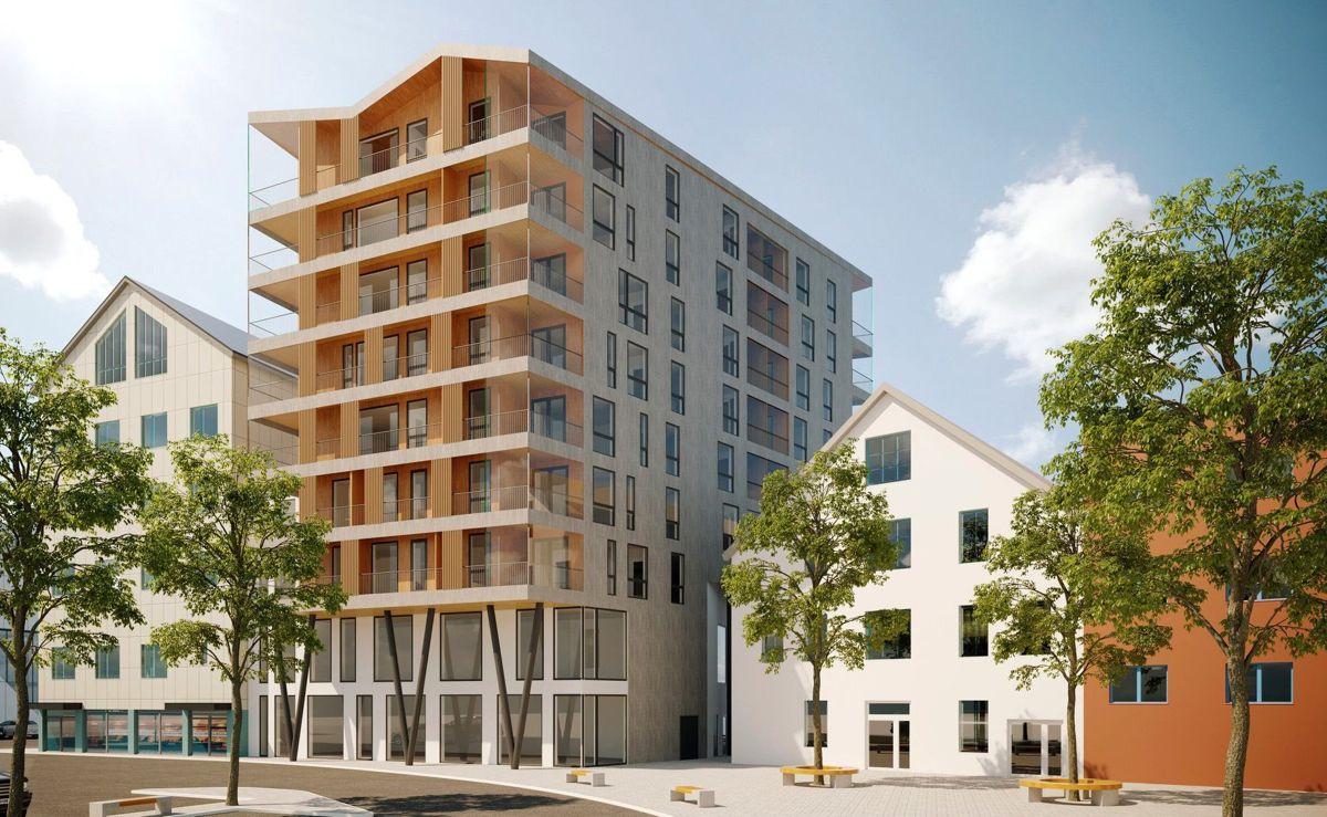 Nybygget på cirka 4.400 kvadratmeter, skal oppføres på kaikanten i Bodø, i tiknytning til historiske Hundholmen plass. Illustrasjon: Norconsult.