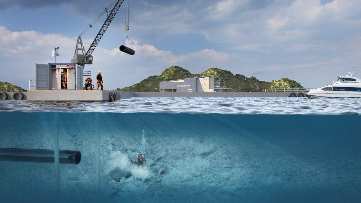 All innaskjærs yrkesdykking skal reguleres av arbeidsmiljøloven, uavhengig av om det dykkes fra for eksempel en kai eller et skip. Illustrasjon: Arbeidstilsynet