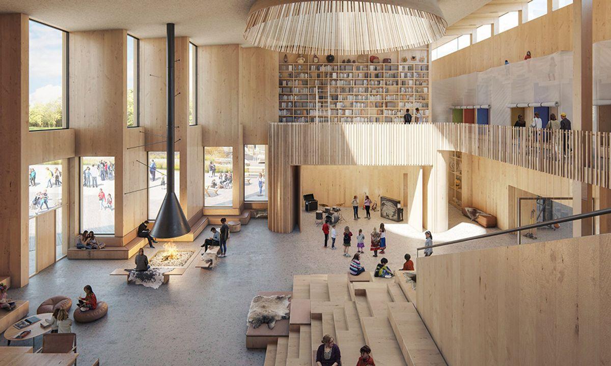 På nye Kautokeino skole blir det ustrakt bruk av massivtre. Illustrasjon: Ola Roald Arkitektur