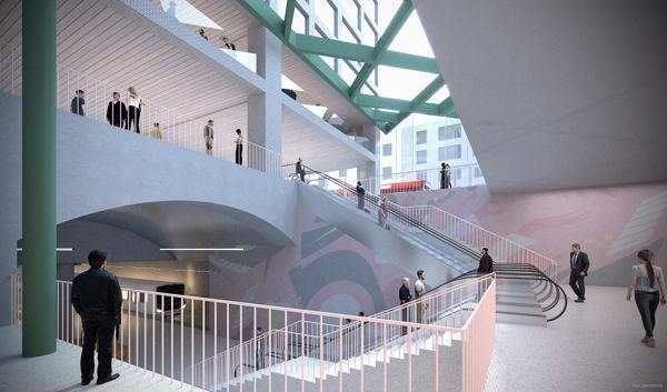 Slik kan det nye stasjonsområdet bli. Ill.: Sporveien/ MDH arkitekter