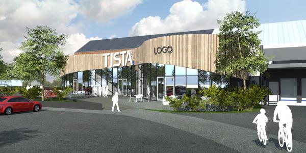 Slik blir Tisla kjøpesenter i Halden. Illustrasjon: SG Arkitekter