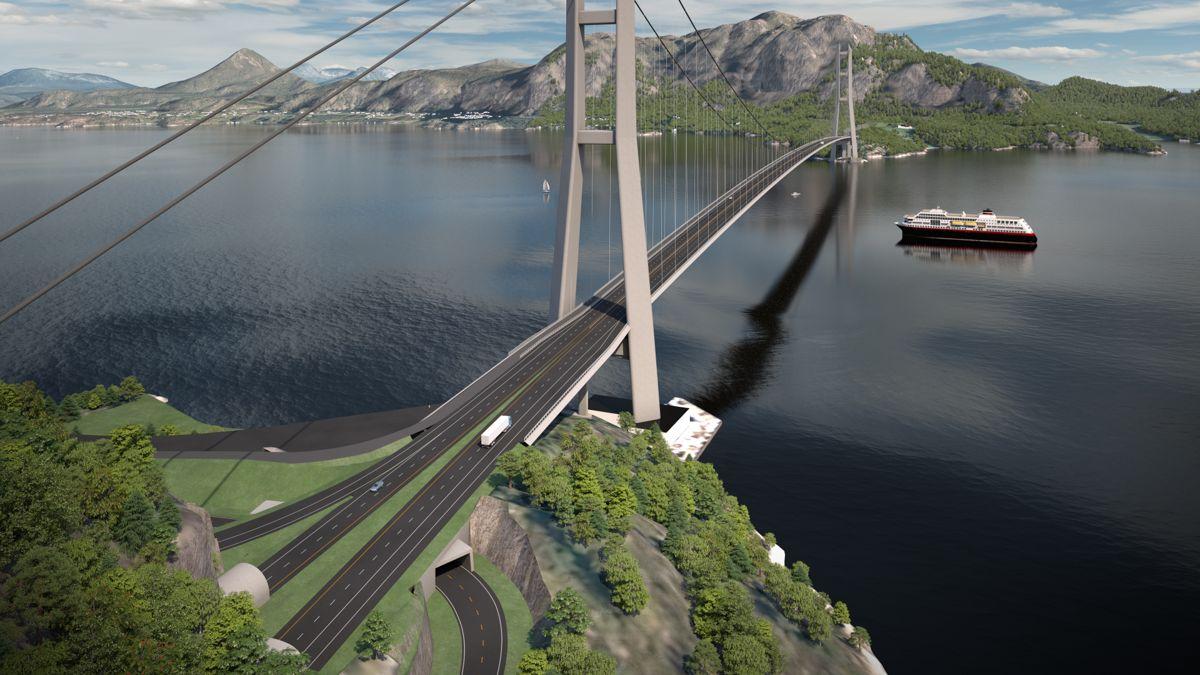 MØREAKSEN. Den to kilometer lange Julsundbrua (hovedspenn på 1.625 meter), blir en viktig del av ny E39 mellom Ålesund og Molde. Går det som Vegvesenet håper kan det bli byggestart for hengebrua i 2024. Illustrasjon: Rambøll.