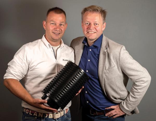Administrerende direktør Martin Van der Sluis i PlasmaMade (til venstre) og daglig leder Eskil Mediaa hos MT Nordic. Foto: MT Nordic