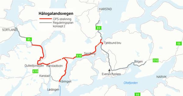 OPS-prosjektet E10 Hålogalandsvegen (E10/rv. 85 Tjeldsund–Gullesfjordbotn–Langvassbukt) Strekningen som skal bygges er markert i kartet med rød farge. Rød stiplet linjer markerer nye tunneler. Illustrasjon: Statens vegvesen.