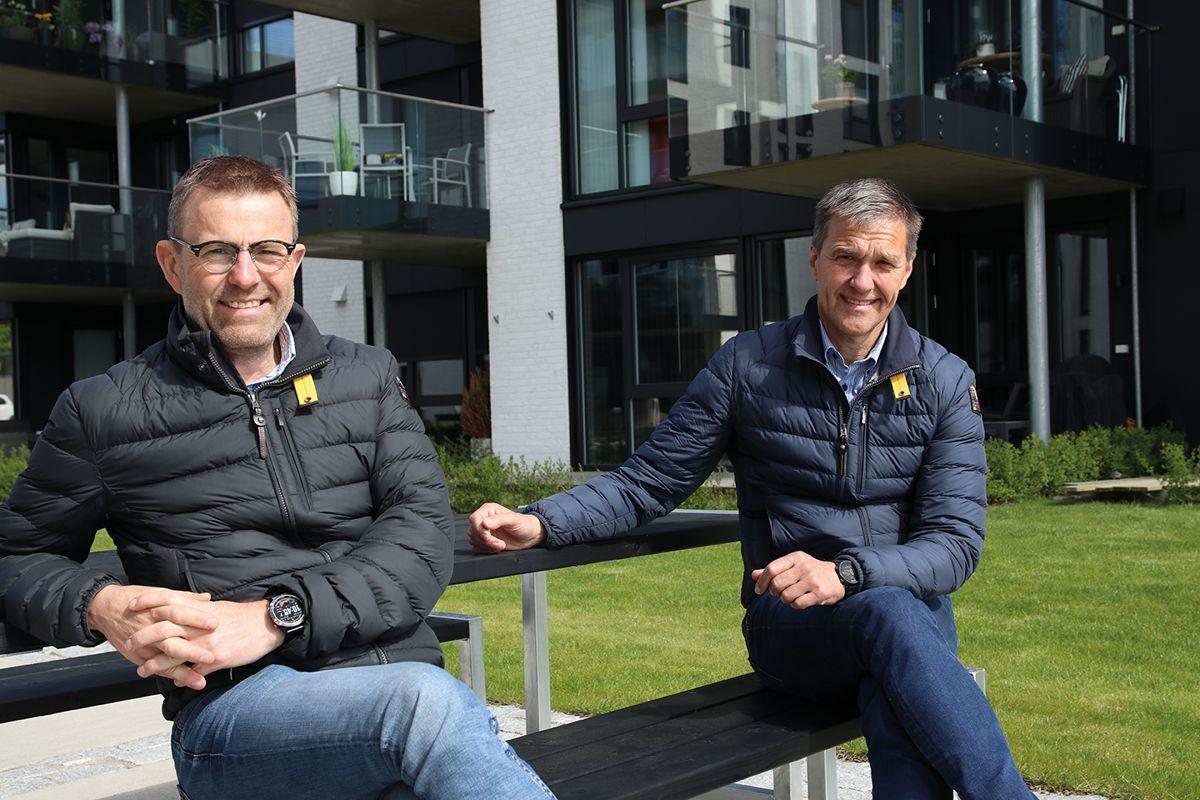Daglig leder Fredrik Martinsen (t.v) og prosjektleder Jan Erling Grav i Ove Skår AS.