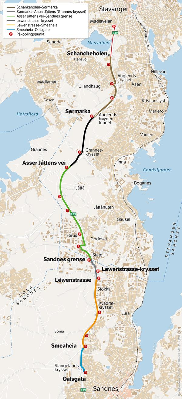 ykkelstamvegen fra Stavanger, via Forus og Lura, til Sandnes. Illustrasjon: Statens vegvesen