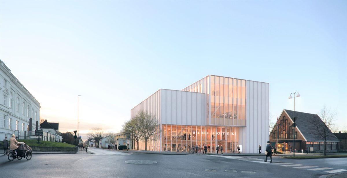 Sarpsborg bibliotek. Illustrasjon: Plus arkitektur og Rodeo arkitekter