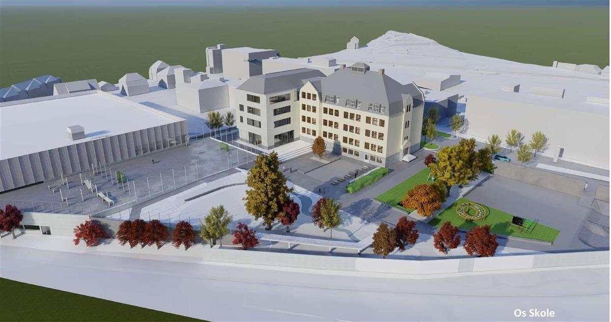 Slik skal Os skole og idrettsanlegget i Halden sentrum se ut. Illustrasjon: Asplan Viak