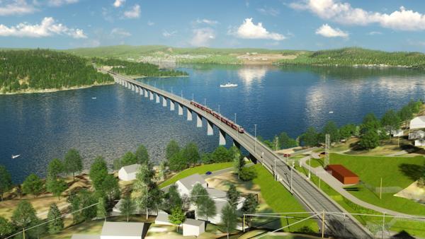 Tangenvika bru blir Norges lengste jernbanebru med sine 1070 meter. Illustrasjon: Bane NOR