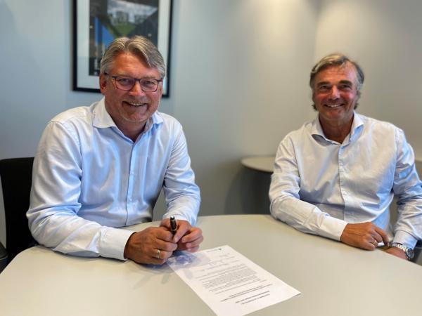 Administrerende direktør Arne Medlien (til venstre) og eiendomsdirektør Gregers Barfod i Mallin Eiendom. Foto: Mallin Eiendom
