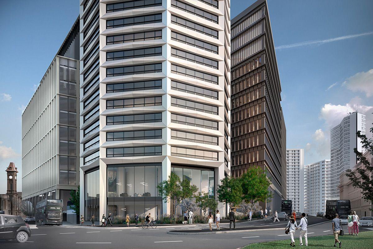 Dette åttekantede høyhuset i Birmingham skal være det første og høyeste av sitt slag. Illustrasjon: Glenn Howells Architects