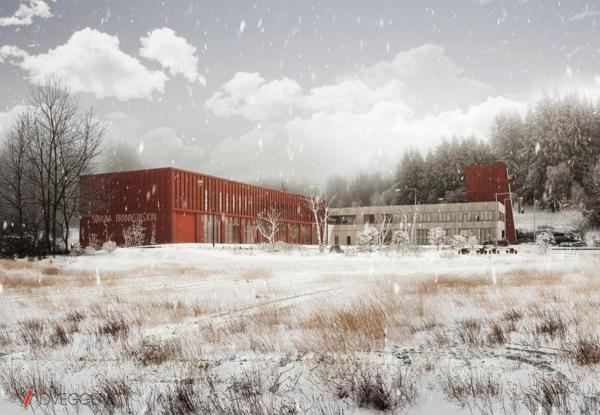 Ny brannstasjon Sørumsand. Illustrasjon: Vindveggen Arkitekter AS