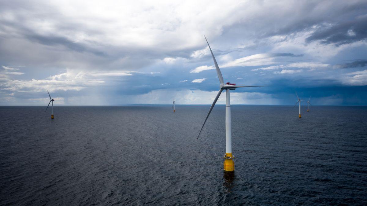 Dette er et arkivfoto fra 2017 av Equinors vindmølleanlegg utenfor Skottland. Foto: Øyvinf Gravås / Equinor / NTB