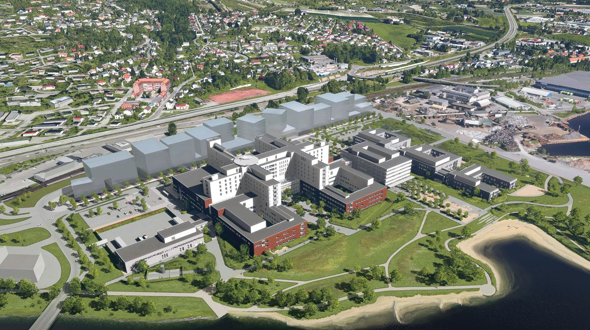 Byggearbeidene til nytt sykehus i Drammen er i full gang på det gamle industriområdet på Brakerøya. I prosjektet gjenbrukes skrapstål som er smeltet om og omdannet til armeringsstål. Illustrasjon: LINK