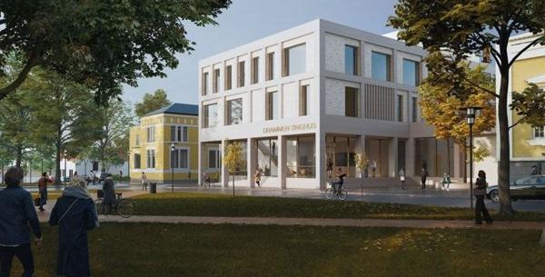 Nye Drammen tinghus. Illustrasjon: Dyrvik Arkitekter