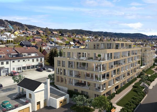 Ø.M. Fjeld-selskapet Evensen & Evensen starter i sommer byggingen av Kvartal 17 på Lillehammer. Prosjektet består 63 av leiligheter. ILLUSTRASJON: Storgata 162/3Destate