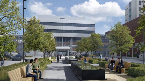 Drammen sykehus. Illustrasjon: LINK arkitektur/Bølgeblikk/Ratio