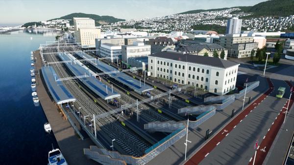 Den største kontrakten tildeles NCC Norge AS, og omfatter alle underbygningsarbeidene på strekningen fra Drammen stasjon til Sundhaugen, inkludert omfattende arbeid på og ved Drammen stasjon, Bybru over sporområdet og mindre arbeider i tunnel og dagsone Skoger. Illustrasjon: Bane NOR