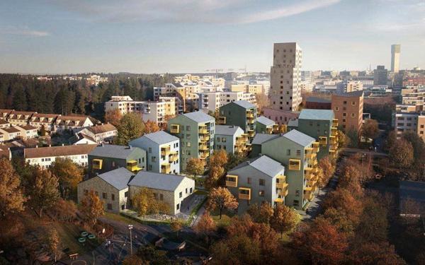 Betonmast bygger Kvarteret Anholt nord i Stockholm. Illustrasjon: Utopia Arkitekter